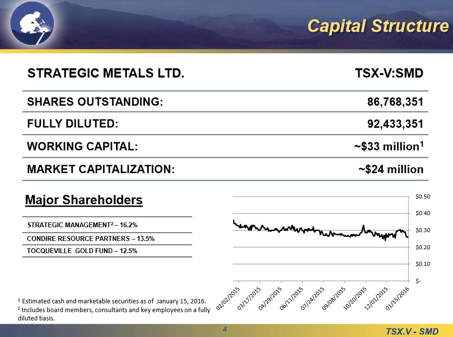 Strategic Metals -- captial